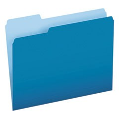 Colored File Folders, 1/3 Cut Top Tab, Letter, Blue/Light Blue, 100/Box