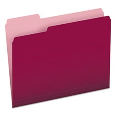 Colored File Folders, 1/3 Cut Top Tab, Letter, Burgundy/Light Burgundy, 100/Box