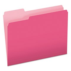 Colored File Folders, 1/3 Cut Top Tab, Letter, Pink/Light Pink, 100/Box
