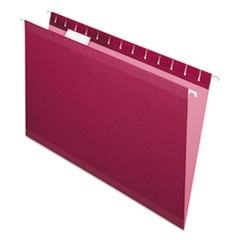 Reinforced Hanging Folders, 1/5 Tab, Legal, Burgundy, 25/Box