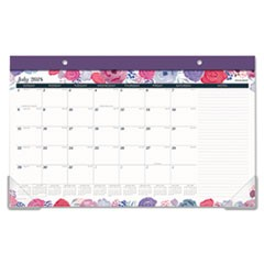 Academic Compact Monthly Desk Pad, 17 3/4 x 10 7/8, Midnight Rose, 2018-2019
