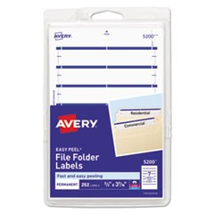 Permanent File Folder Labels, 11/16 x 3 7/16, White/Dark Blue Bar, 252/Pack