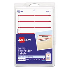 Permanent File Folder Labels, 11/16 x 3 7/16, White/Dark Red Bar, 252/Pack