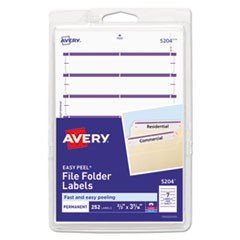 Permanent File Folder Labels, 11/16 x 3 7/16, White/Purple Bar, 252/Pack