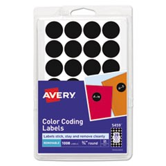 "Handwrite Only Removable Round Color-Coding Labels, 3/4"" dia, Black, 1008/Pack"