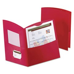 Contour Two-Pocket Folder, Recycled Paper, 100-Sheet Capacity, Red