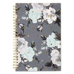 Tea Time Weekly/Monthly Planner, 4 7/8 x 8, Gold/Gray/White, 2019