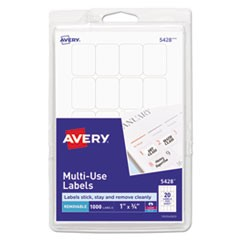 Removable Multi-Use Labels, 1 x 3/4, White, 1000/Pack