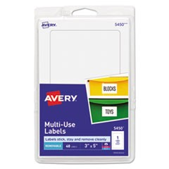 Removable Multi-Use Labels, 5 x 3, White, 40/Pack
