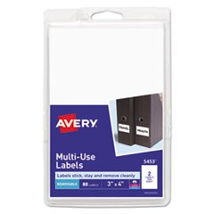 Removable Multi-Use Labels, 3 x 4, White, 80/Pack