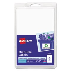 Removable Multi-Use Labels, 6 x 4, White, 40/Pack