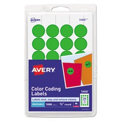 "Printable Removable Color-Coding Labels, 3/4"" dia, Green, 1008/Pack"