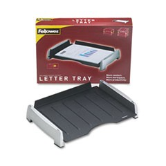 Office Suites Side Load Letter Tray, Plastic, Black/Silver
