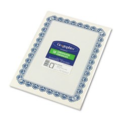 Parchment Paper Certificates, 8-1/2 x 11, Blue Royalty Border, 50/Pack