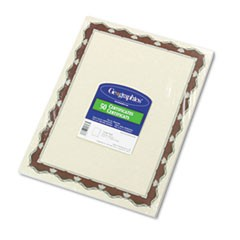 Parchment Paper Certificates, 8-1/2 x 11, Red Crown Border, 50/Pack
