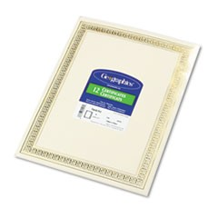 Foil Enhanced Certificates, 8-1/2 x 11, Gold Flourish Border, 12/Pack