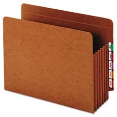 Heavy-Duty Expanding File Pocket, End Tab, 5 1/4 Inch, Letter, Brown, 10/Box