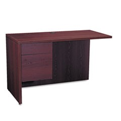 10500 Series L Workstation Return, 3/4 Height Left Ped, 48w x 24d, Mahogany