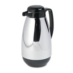 Vacuum Glass Lined Chrome-Plated Carafe, 1L Capacity, Black Trim