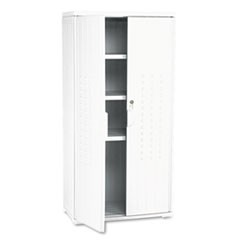 OfficeWorks Resin Storage Cabinet, 33w x 18d x 66h, Platinum