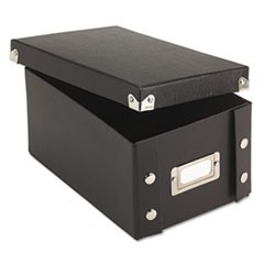 Collapsible Index Card File Box, Holds 1,100 4 x 6 Cards, Black