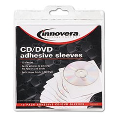 Self-Adhesive CD/DVD Sleeves, 10/Pack