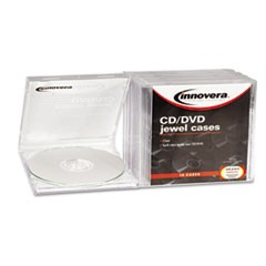 CD/DVD Standard Jewel Case, Clear, 10/Pack