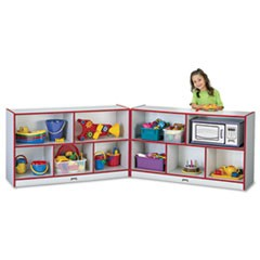 Rainbow Accents Fold-n-Lock Storage Unit, 48w x 15d x 29-1/2h, Red/Gray