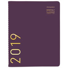 Contemporary Monthly Planner, 9 1/2 x 11 1/8, Purple, 2019