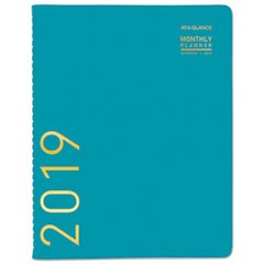 Contemporary Monthly Planner, 9 1/2 x 11 1/8, Teal, 2019