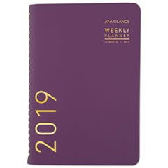 Contemporary Weekly/Monthly Planner, 4 7/8 x 8, Purple, 2019