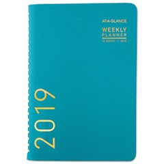 Contemporary Weekly/Monthly Planner, 4 7/8 x 8, Teal, 2019