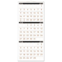 Contemporary Three-Monthly Reference Wall Calendar, 12 x 27, 2019