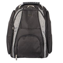 "Matt BackPack, 13"" x 4"" x 18"", Polyester, Black/Gray"