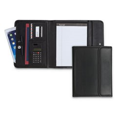 Professional Tri-Fold Padfolio w/Calculator, Writing Pad, Vinyl, Black