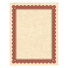 Parchment Certificates, Copper w/Red & Brown Border, 8 1/2 x 11, 25/Pack