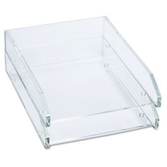Double Letter Tray, Two Tier, Acrylic, Clear