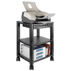 Mobile Printer Stand, Three-Shelf, 17w x 13-1/4d x 24-1/4h, Black