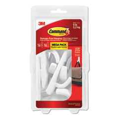 General Purpose Hooks, Large, 5lb Cap, White, 14 Hooks & 16 Strips/Pack