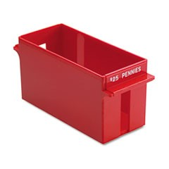 Porta-Count System Extra-Capacity Rolled Coin Plastic Storage Tray, Red