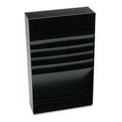"Four-Compartment Desk Drawer Stationery Holder, Steel, 18"" Dept, Black"
