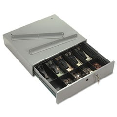 Steel Cash Drawer w/Alarm Bell & 10 Compartments, Key Lock, Stone Gray