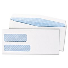 2-Window Security Tinted Check Envelope, #10, 4 1/8 x 9 1/2, White, 500/Box