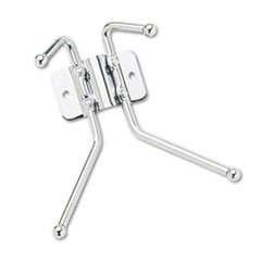 Metal Wall Rack, Two Ball-Tipped Double-Hooks, 6-1/2w x 3d x 7h, Chrome Metal