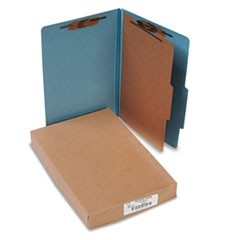 Pressboard 25-Pt Classification Folders, Legal, 4-Section, Sky Blue, 10/Box