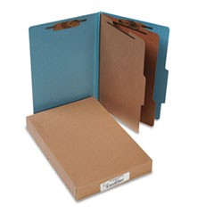 Pressboard 25-Pt Classification Folders, Legal, 6-Section, Sky Blue, 10/Box
