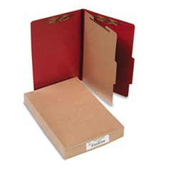 Pressboard 25-Pt Classification Folders, Legal, 4-Section, Earth Red, 10/Box