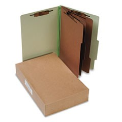 Pressboard 25-Pt Classification Folders, Legal, 8-Section, Leaf Green, 10/Box