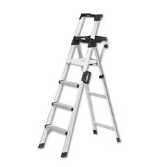 Six-Foot Lightweight Aluminum Folding Step Ladder w/Leg Lock & Handle, 300lb