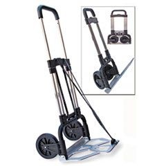 Portable Slide-Flat Cart, 275lbs, 18 3/4 x 19 x 40, Black/Chrome